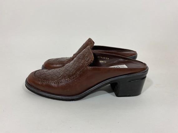 90s Braided Leather Mules. 1990s Dark Brown Sam &