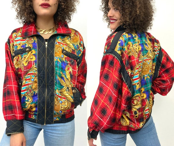 80s Bomber Jacket. 1980s Gold Chain, Red Plaid Si… - image 1