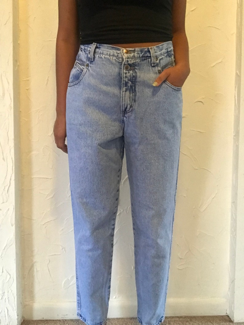 Medium 80s Acid Wash High Waist Jeans Zena Size 16 1980s Blue Denim Pants Large.