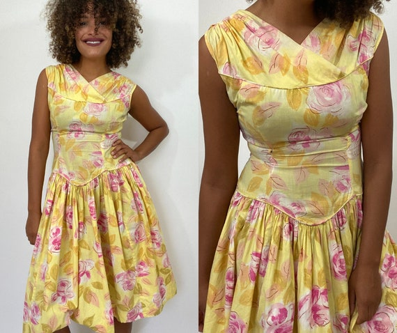 50s Floral Dress. 1950s Yellow and Pink Rose Dress