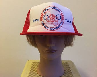 Vintage California Police Union Red and White Trucker Hat. Snapback.