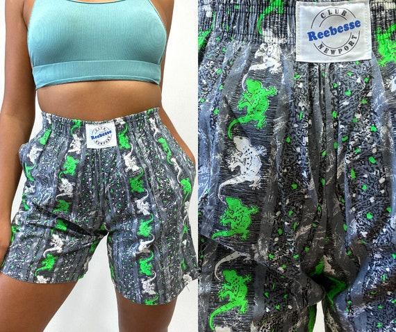 80s Shorts. 1980s Gray, Green and White Lizard Pri