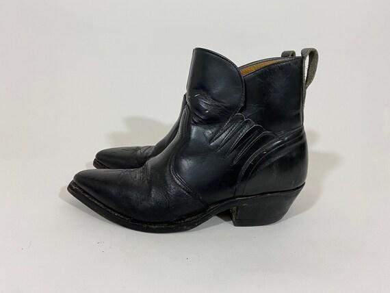 Vintage Black Leather Western Boots. Short Cowboy