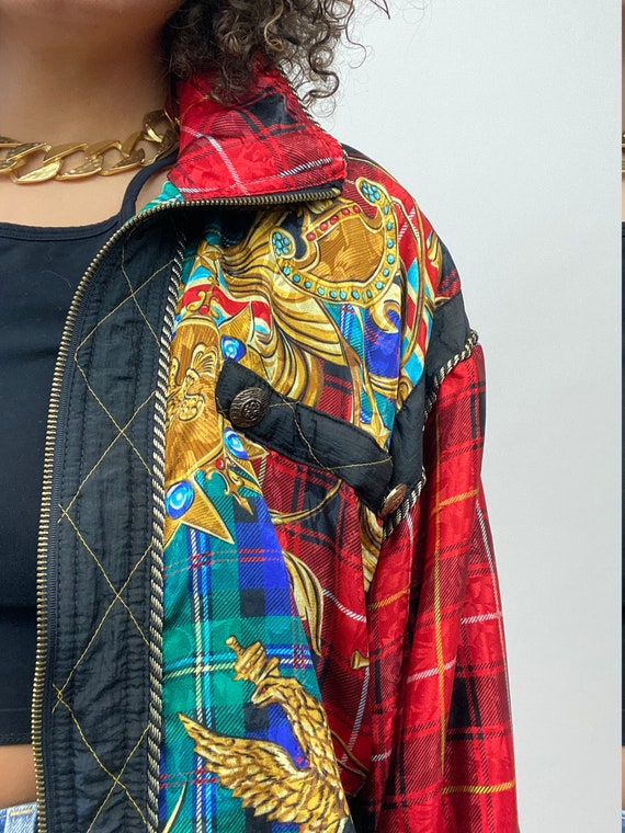 80s Bomber Jacket. 1980s Gold Chain, Red Plaid Si… - image 4
