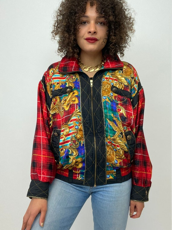 80s Bomber Jacket. 1980s Gold Chain, Red Plaid Si… - image 10