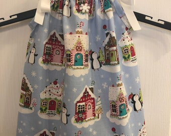 Penguin Gingerbread Houses Girls Pillowcase Dress Candy Cane Snowflakes Christmas Winter Red Green Pink Brown Toddlers Babies Pillow Case