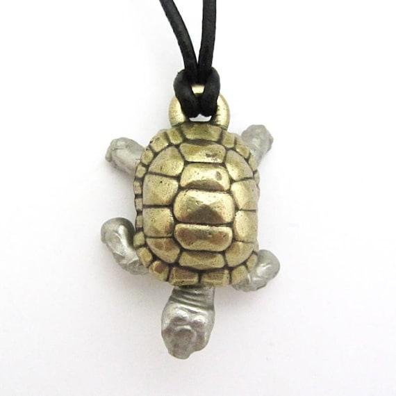 Two-tone Tortoise Anatomy Necklace Turtle Pendant Sulcata   Etsy