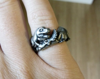 Battling Dinosaurs Ring - T-rex and Triceratops, Dinosaur Jewelry, Paleontology Jewelry