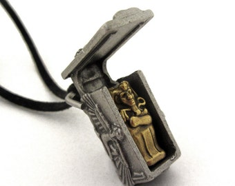 Ancient Egyptian Sarcophagus Necklace - Pharaoh Mummy, Egyptology Locket