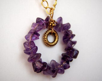 Amethyst Circle Necklace made with Small Chips and Gold Hoop Charm on Gold Chain