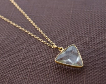 Gold triangle necklace, Dainty triangle necklace, Triangle charm necklace, Quartz triangle, Gold geometric necklace, Gold triangle charm