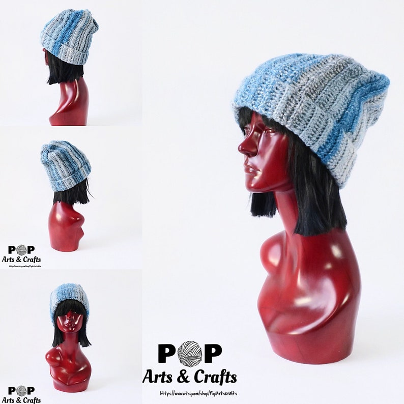 fcd480db054 Blue and Silver Slouchy Beanie Inspired by Uranus Science