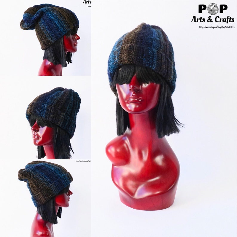 17c695f6681 Blue Brown and Black Slouchy Beanie Inspired by Black Holes