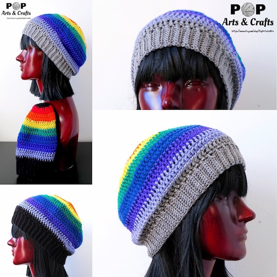 a97096f1ee7 Rainbow Beanie Crochet Hat Handmade Gift for Him Gift for