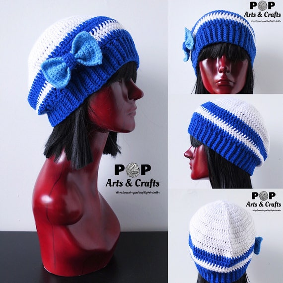 88b329e1318 Geeky Beanie With Blue Bow Kawaii Clothing Halloween