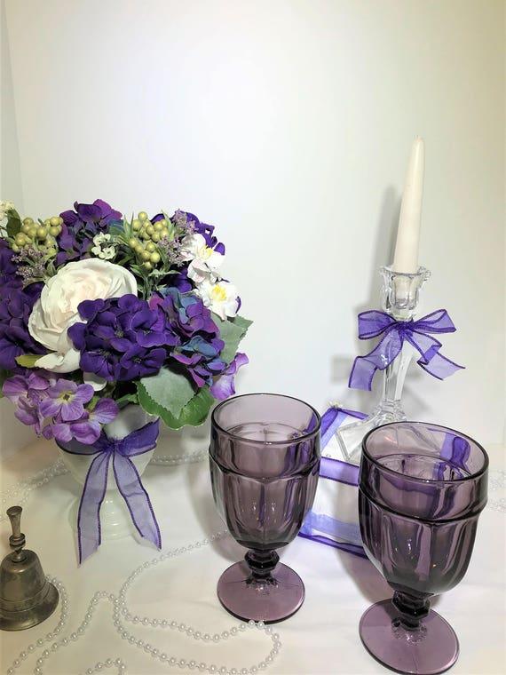 Purple Wedding Decor Bride Groom Table Centerpieces Wedding Etsy