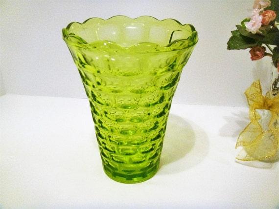 Large Green Vase Celery Green Vase Tall Green Glass Vase Etsy
