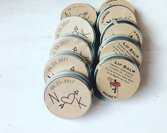 Customized Honey Lip Balm Wedding Favors