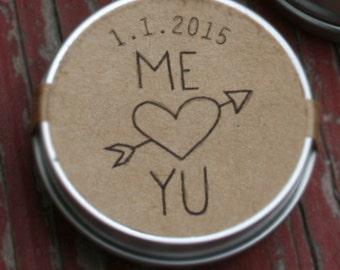 WEDDING GUEST FAVORS / custom lip balm wedding favor / organic lip balm guest gift  / personalized country burlap rustic