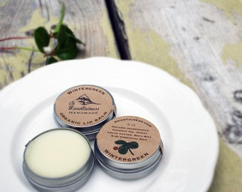 Organic Wintergreen beeswax Lip balm // sweet cooling minty lipbalm tin // lip balm pot // maine made lip balm