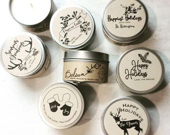 12 custom candle christmas gifts bulk christmas gifts small co workers holiday client gifts christmas party favors co worker business