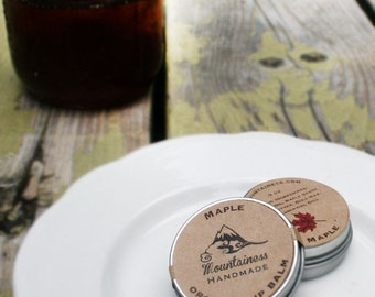 made in maine lip balm  / Organic Maple Lip Balm Tin / rustic wedding favor/ fall wedding favor / leaf favor / rustic favor / maine gift