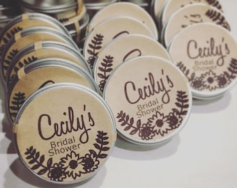 Summer lip balm bridal shower Favors / custom floral bachelorette favor organic engagement party favors  party reception  bridal shower