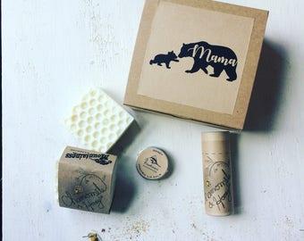 Mothers day gift Set /  Mama bear / honey soap deodorant lip balm spa gift Set / mothers day gift Box /  Mama bear / mothers day gift box