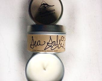 sea salt coconut scented candle / beach soy candle / natural nautical  coconut scented ocean candle gift nautical summer beach gift