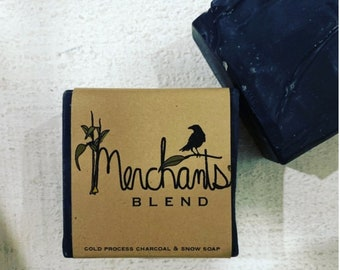 merchants blend activated charcoal soap. // organic thieves oil scented soap // black soap bar organic bar soap zero waste soap