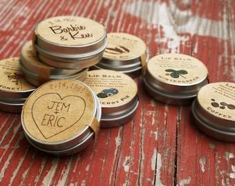 Wedding Favors / custom lip balm wedding favor / organic lip balm engagement party favors country wedding party reception / bridal shower