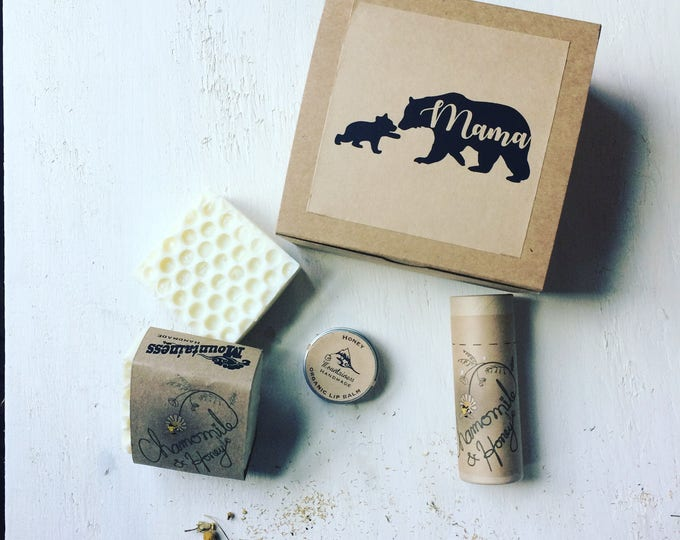Featured listing image: Mothers day gift Set /  Mama bear / honey soap deodorant lip balm spa gift Set / mothers day gift Box /  Mama bear / mothers day gift box