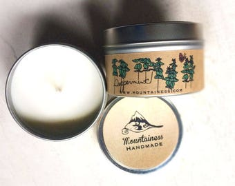 soy candles / Peppermint soy candle natural / soy wax candle / Peppermint scent / christmas candle / maine made / maine made scented candle