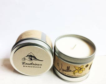 vanilla soy candle / travel candle / sweet warm smell / natural soy candle cabin decor camp / sweet scented / candle phthalate free candle