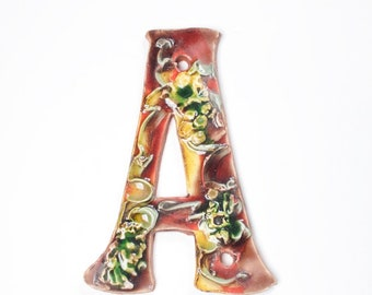 Ceramic Handmade Letter A for Duplex Plum Garden Colorway House Numbers