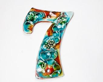 Ceramic Handmade House Number '7' Coral Reef