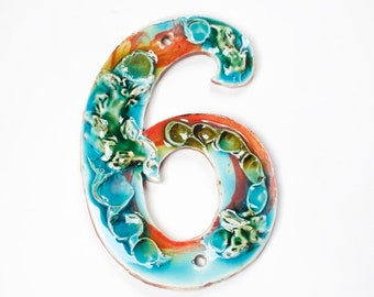 Ceramic Handmade House Number '6' Coral Reef