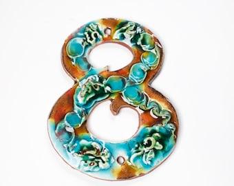 Ceramic Handmade House Number '8' Coral Reef
