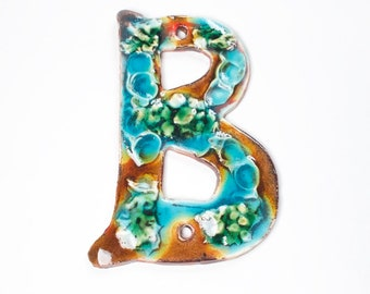 Ceramic Handmade Letter B for Duplex Coral Reef Colorway House Numbers