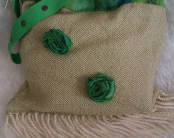 Handmade Green Rose Decorated Bag