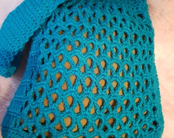 Hand Crocheted, Turquoise Blue & Green, Fully Lined Shoulder Bag