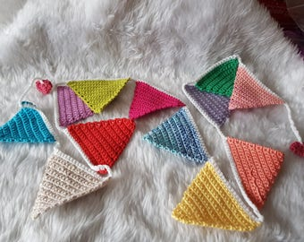 Hand Crocheted Multi Coloured, Colourful Bunting.