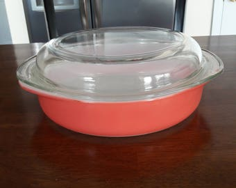 Vintage / Retro Pyrex Flamingo Pink #221 8 Inch Covered Casserole with 684C Dome Glass Cover