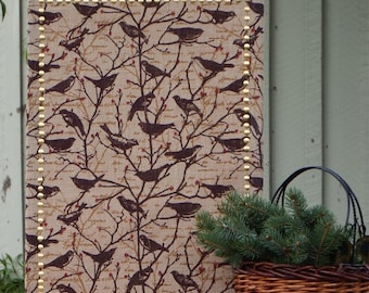 Burlap Covered Medium Cork Board - Pin Board - Message Board - Pin Board - Corkboard -  Bulletin Board - Gold Border - Birds