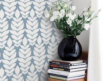 Modern Leaves Pattern Dusky Blue PEEL & STICK Repositionable  Fabric Wallpaper