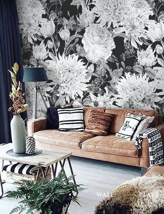 Watercolor Black And White Flowers Mural Removable Wallpaper Etsy