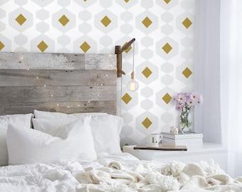 Mid-century Modern Shapes Fabric Wallpaper - Grey