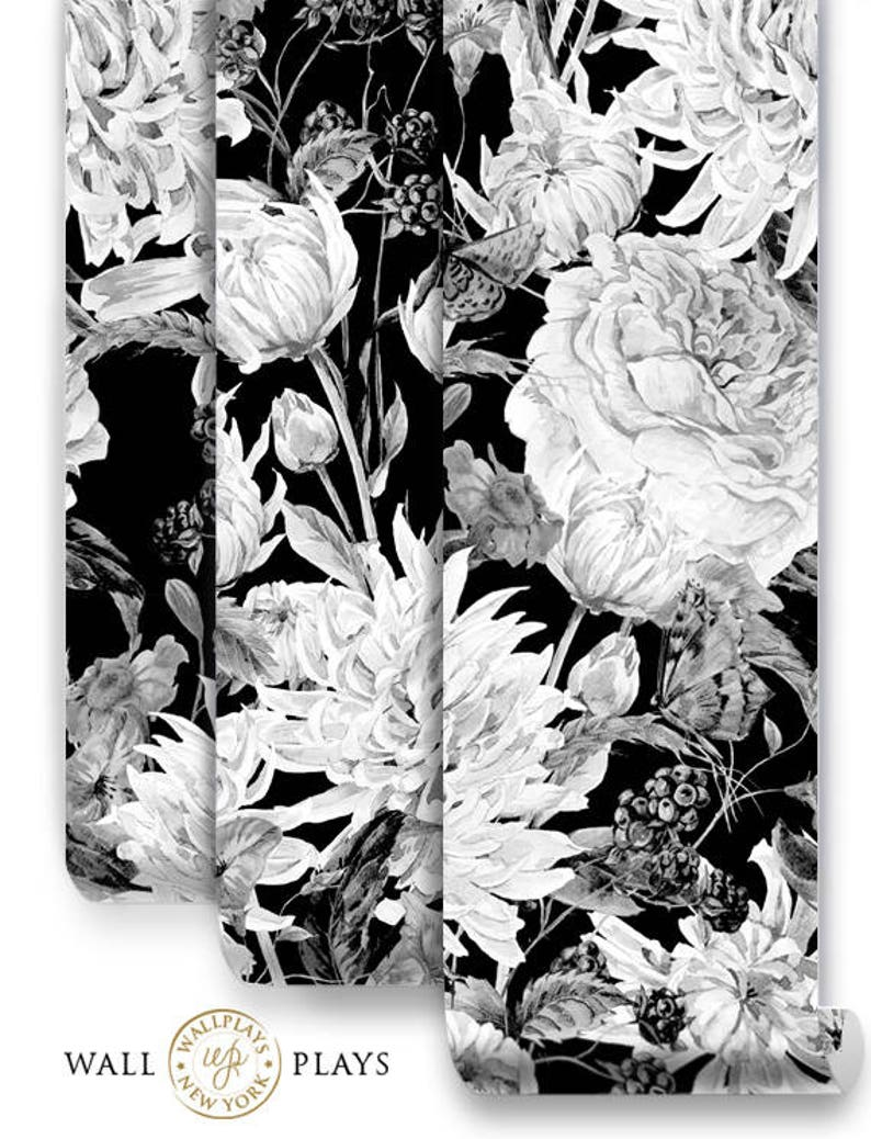Watercolor Black And White Flowers Mural Removable Wallpaper Wall Mural Peel And Stick Floral Wallpaper Self Adhesive Temporary Mural