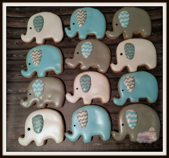 Elephant Baby Shower decorated Sugar Cookies 2 1 dozen | Etsy