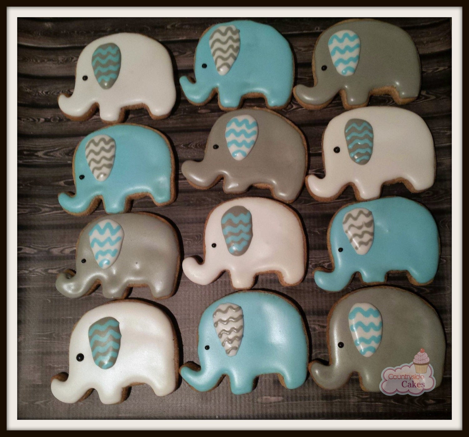 Elephant Baby Shower decorated Sugar Cookies 2 1 dozen | Etsy